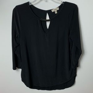 Meraki Black 3/4 Sleeve Blouse top women's large